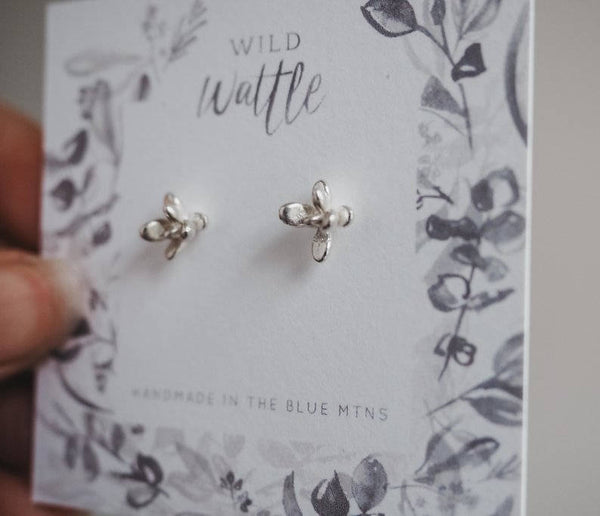Succulent Flower Studs in Sterling Silver