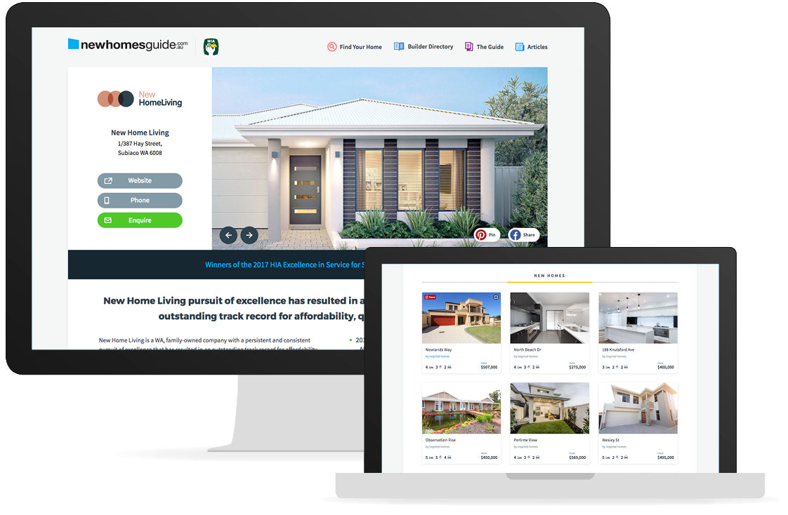 Preview of newhomesguide.com.au home design page
