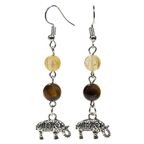 Tigers & Rutilated Q Elephant Earrings