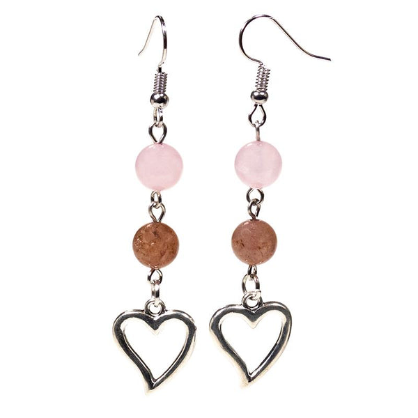 Rose & Strawberry Quartz Heart Earrings