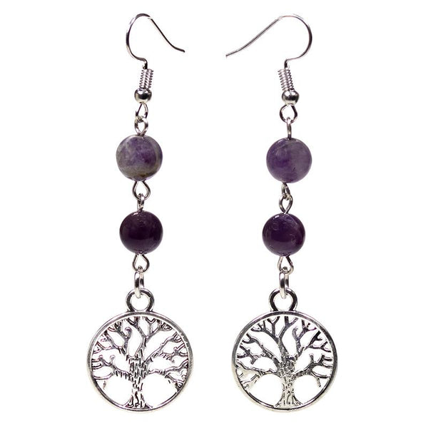 Fluorite & Amethyst Tree Of Life Earrings