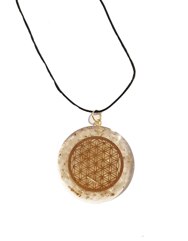 Flower Of Life Orgonite Pendant with Clear Quartz