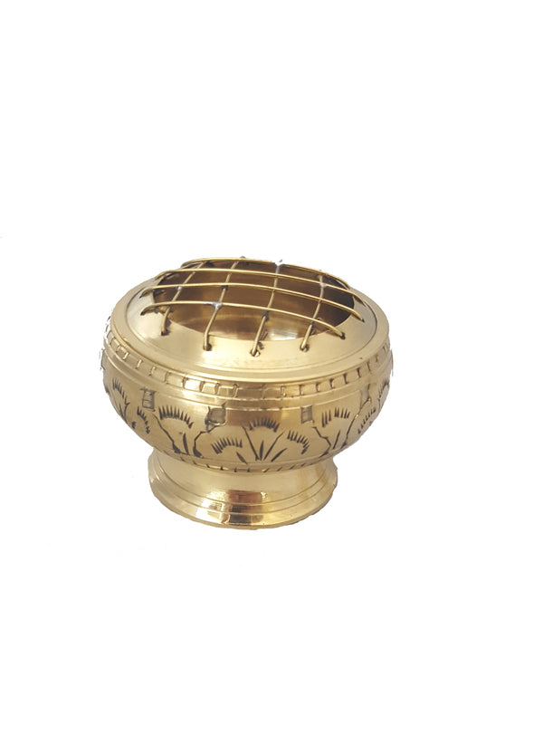Gold Brass Charcoal Burner