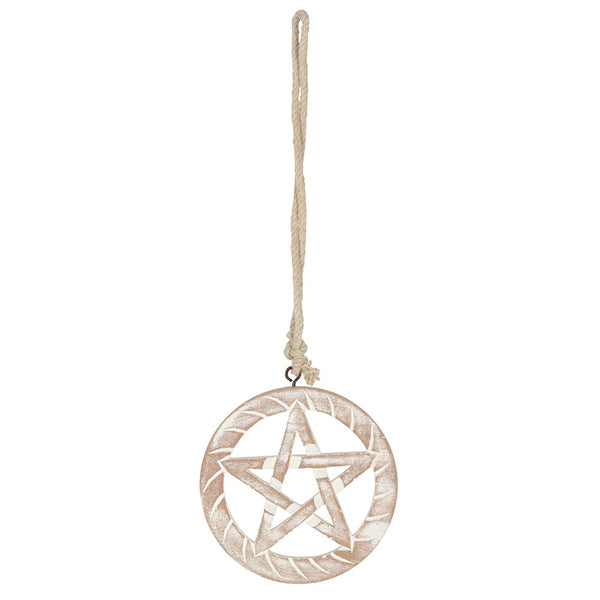 White Wooden Hanging Pentagram