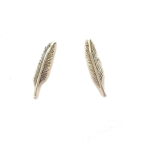 Feather Silver Studs