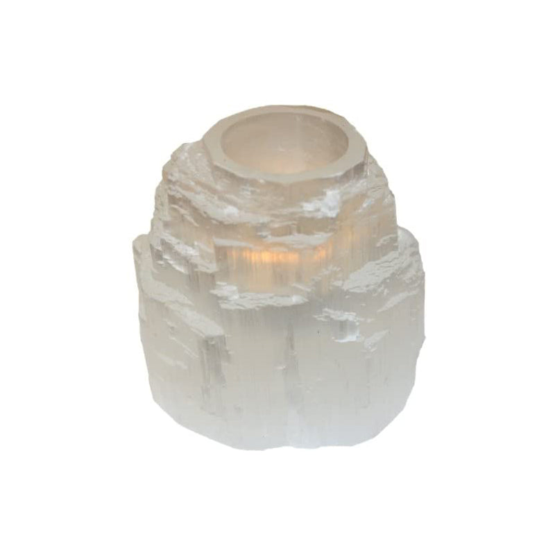 Selenite Mountain Tea Light Holder