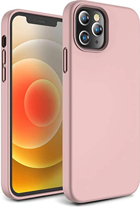 CANSHN Liquid Silicone Case for iPhone 12 Pro Max, [Silky Touch Feeling] Soft Gel Rubber Full Body Protection Shockproof Phone Case Cover for Apple iPhone 12 Pro Max 2020 5G 6.7 inch - Pink Sand