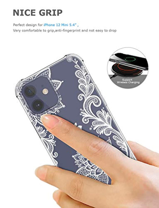 GREATRULY Floral Clear iPhone 12 Mini Case for Women/Girls,Pretty Phone Case for iPhone 12 Mini 5.4 Inch (2020), Flower Design Slim Soft Transparent Drop Proof TPU Bumper Silicone Cover Shell,FL-S