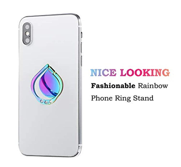 lenoup Rainbow Sparkle Cell Phone Ring Stand Holder,Glitter Bling Bling Rainbow Ring Grip Kickstand,360 Rotation Finger Ring for Almost All Phones,Pad