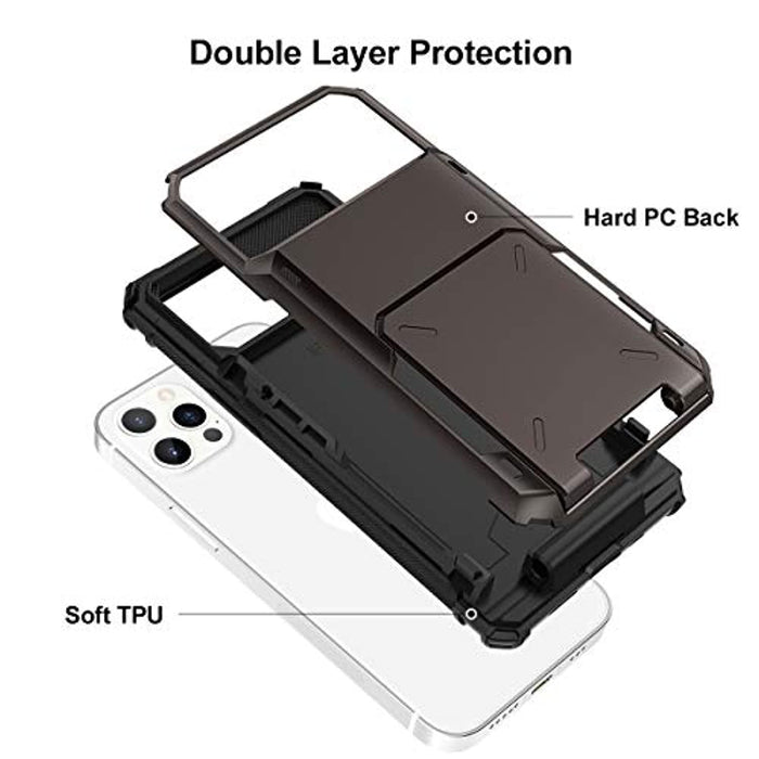 Wallet Hybrid Hard Shell Back Protective Bumper Case for iPhone 12/12 Pro