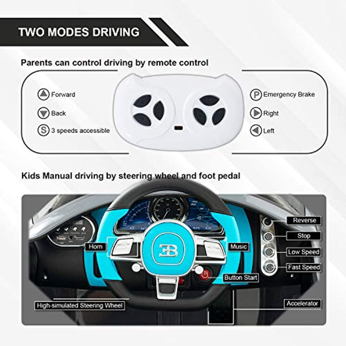 Bugatti Divo Kids Ride On Car Electric Cars Motorized Vehicles for Kids, with Remote Control, Music, Horn, Spring Suspension, Safety Lock, Gray