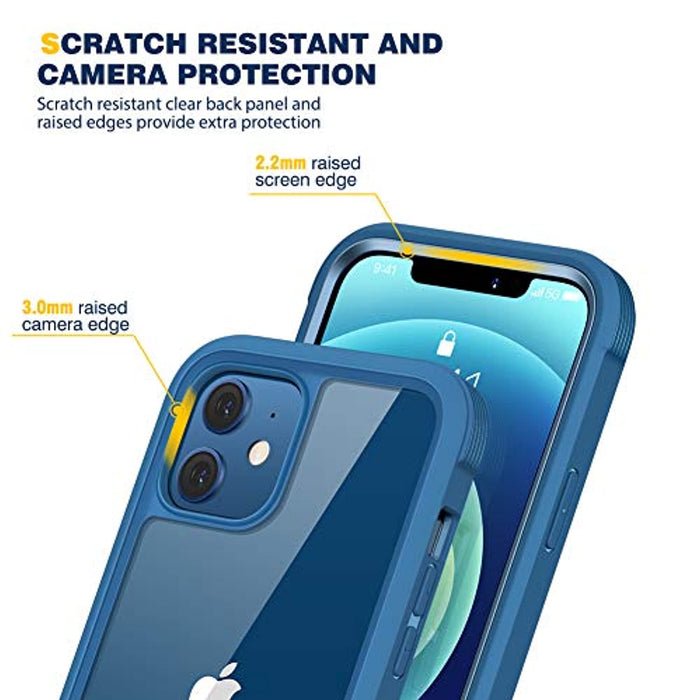 Full Body Blue Rugged Case with Built-in Touch Sensitive Anti-Scratch Screen Protector Case for iPhone 12 Mini