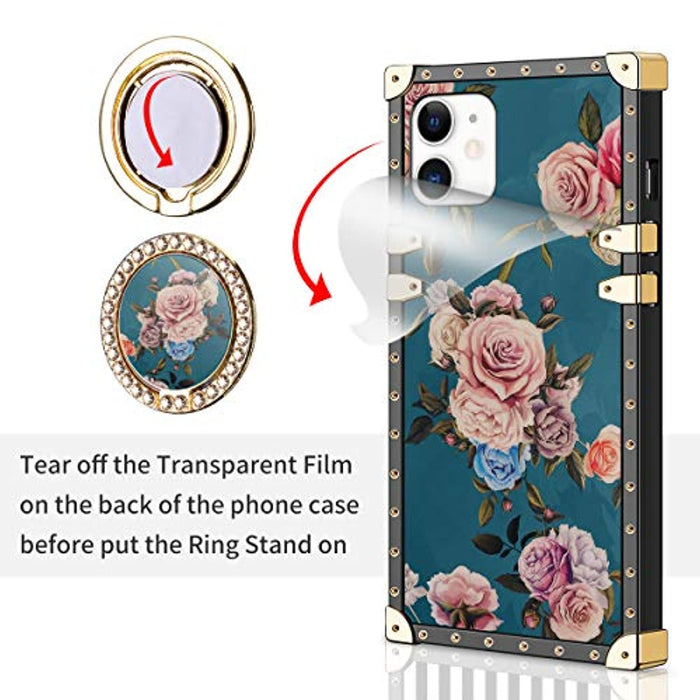 Elagant Flower Square Case for iPhone 12,iPhone 12 Pro Case with Stand Ring Holder