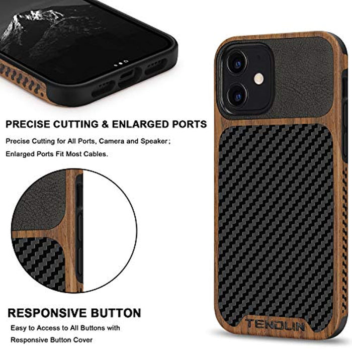 Wood Grain with Carbon Fiber Texture Design Leather Hybrid Case for iPhone 12 Mini