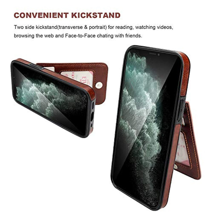 KIHUWEY iPhone 12 Mini Case Wallet with Credit Card Holder, Premium Leather Magnetic Clasp Kickstand Heavy Duty Protective Cover for iPhone 12 Mini 5.4 Inch(Brown)
