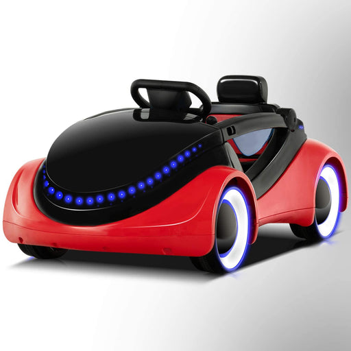 Electric Kids Ride On Cars Battery Motorized Vehicles with Remote Control, LED Lights, Music, Story Playing, Safety Lock, Red