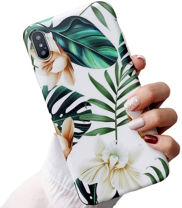 iPhone X/Xs Green Leaves with White & Brown Flowers Case