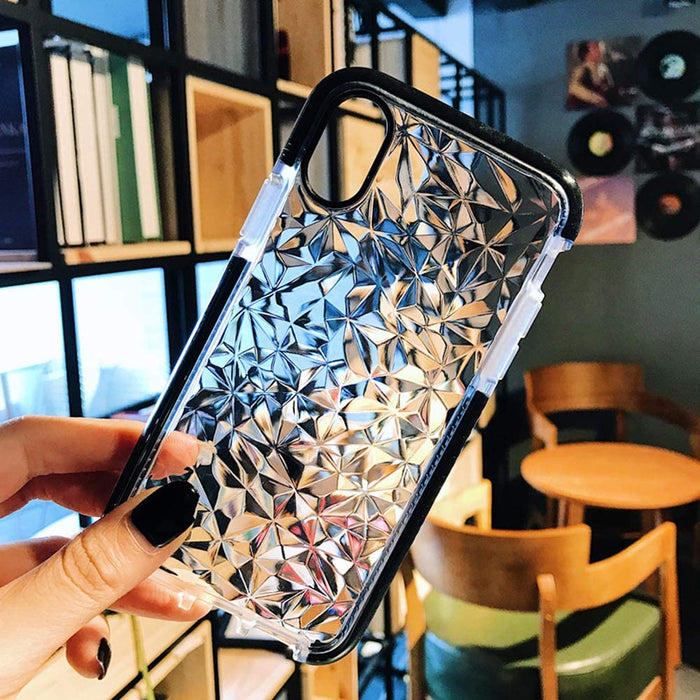 iPhone XR Crystal Clear Slim Diamond Pattern Case