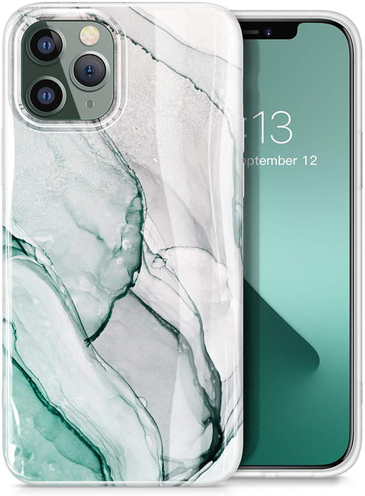 GVIEWIN Aurora Lite Series Designed for iPhone 12 Pro Max, Marble Ultra Slim Thin Glossy Soft TPU Rubber Stylish Flexible Protective Case Cover for iPhone 12 Pro Max 6.7 Inch 2020 (Green/Gold)