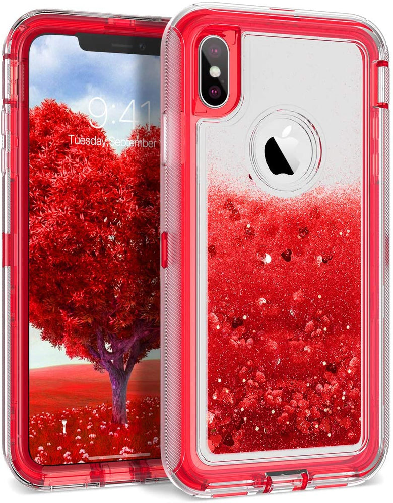 iPhone XS Max Red Glitter Defender Case