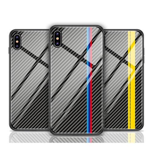 Luxury Racing Car Motorsports Carbon Fiber Glass Case for Samsung/ iPhone
