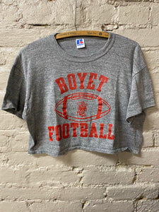 1980s Russell Athletics Tee- Boyet Football Crop Top