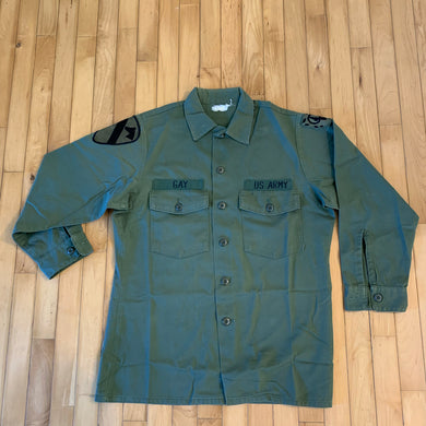 "1970s US Army OG-507 Fatigue Shirt Size Medium With Name ""Gay"""