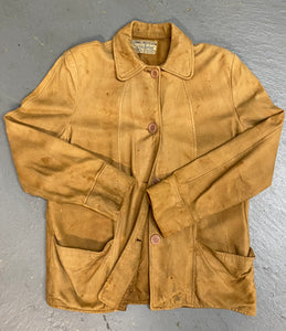1940s Suede Leather Chore Coat