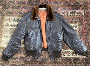 Vintage 1940s Bomber Horsehide Leather Jacket- Alpaca Collar