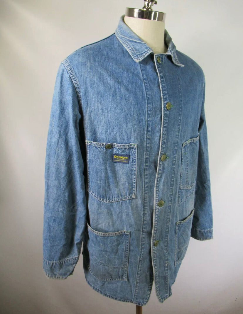 Vintage 50's 60's OshKosh B'gosh Union Made Denim Chore Coat Jacket Size 42 L