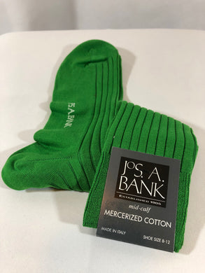 NEW - Jos. A. Bank Mercerized Cotton Green Dress Socks (Shoe size 8-12)