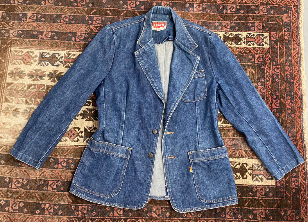 Vintage Blue 1970s Levis Orange Tab Denim Blazer