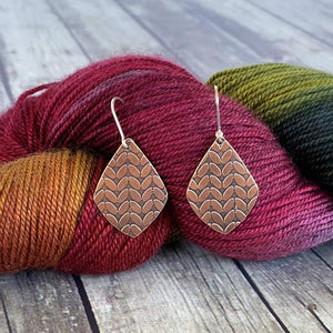 MICHELLE medium copper stockinette knit stitch earrings