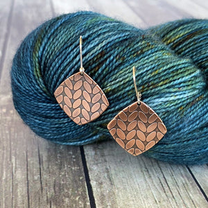 KATIE small copper stockinette knit stitch earrings