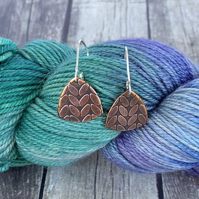 RENEE copper stockinette knit stitch earrings