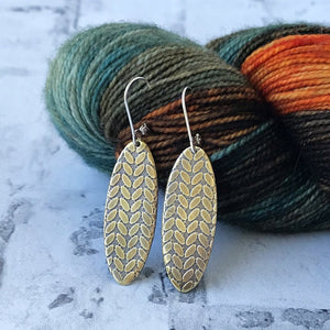 Jolee brass stockinette knit stitch earrings