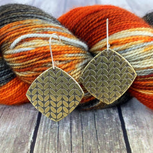 KATIE large brass stockinette knit stitch earrings