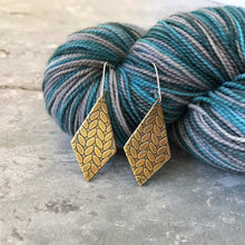 SARAH brass stockinette knit stitch earrings