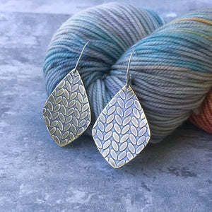 MICHELLE large brass stockinette knit stitch earrings