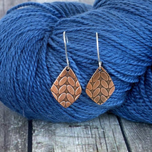 MICHELLE small copper stockinette knit stitch earrings