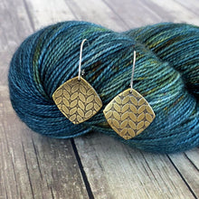 KATIE small brass stockinette knit stitch earrings