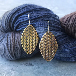SIERRA brass stockinette knit stitch earrings