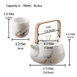 Classic Japanese Marble Ceramic Tea Set - Tea With Herbs