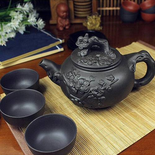 Chinese Porcelain Yixing Zisha Tea Set  - 380ml Tea Kettle & 3 40ml Cups - Tea With Herbs
