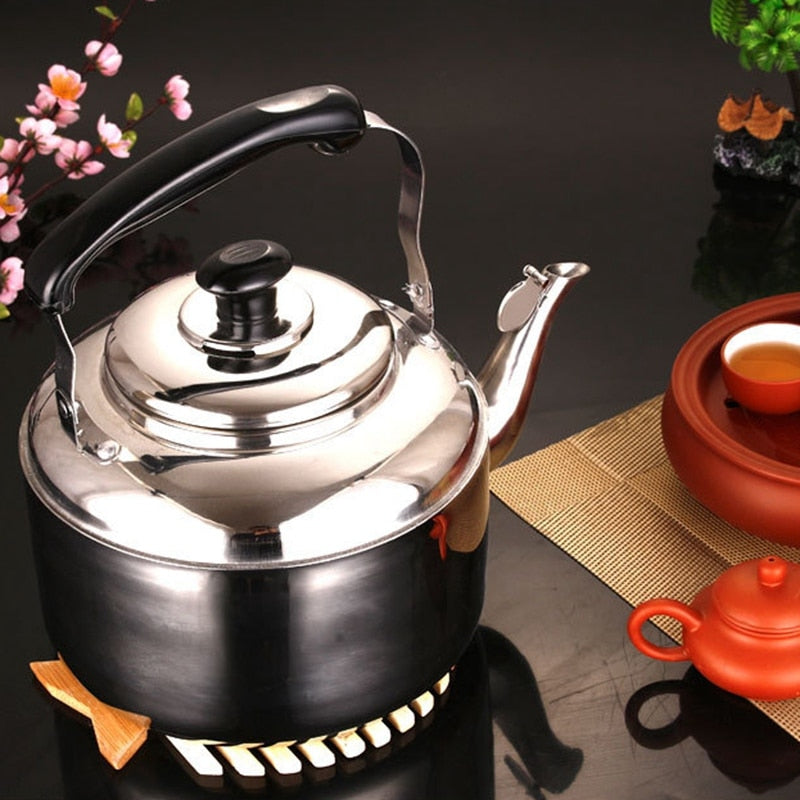 Stainless Steel Stove top Kettle for Home Kitchen, Camping and Picnic - 4-Liter Capacity - Tea With Herbs