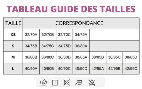 Table guide measures of size support bra brassiere of sport-My Féerie