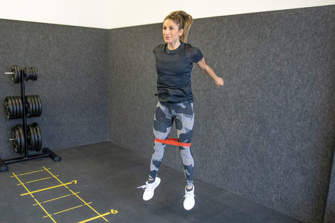 Jumping square and an elastic strength belt