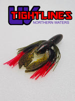 "Tightlines UV Hy Brid CRAW 4"" RATTL'N Watermelon Red with Black Red Tip Soft Baits"