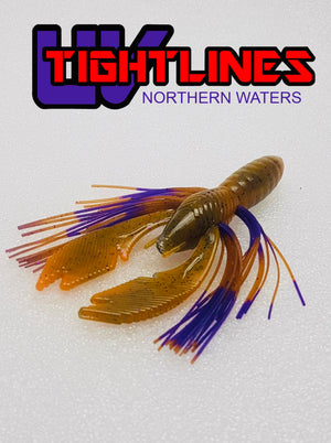 "Tightlines UV Hy Brid CRAW 4"" RATTL'N Craw with Craw Purple Soft Baits"