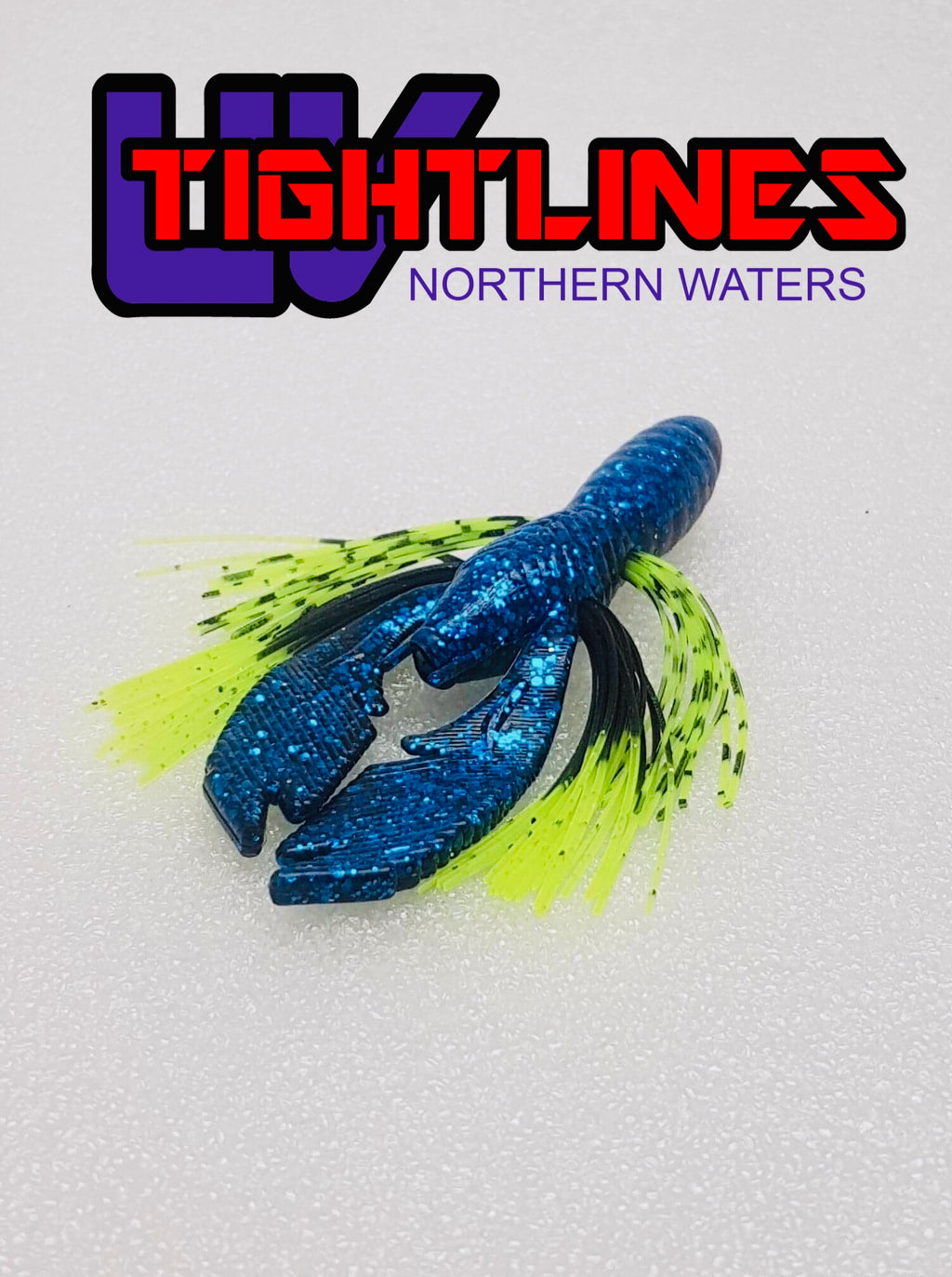 "Tightlines UV Hy Brid CRAW 4"" RATTL'N Blue Black with Chartreuse Tip/Tiger Soft Plastics"